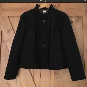 J. Crew Gray Wool Blazer Jacket Ruffle Trim Size 4